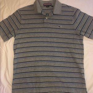 Men's striped Vineyard Vines collared polo shirt